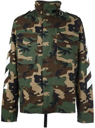 Off White Camouflage Print Utility Jacket Green