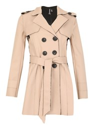 Izabel London Long Sleeve Button Detail Coat Beige