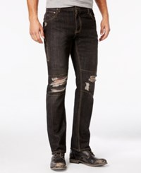 Inc International Concepts Men's Slim Fit Ripped Black Wash Jeans Only At Macy's