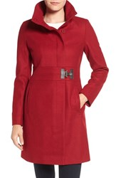 Via Spiga Petite Women's Faux Leather Detail Asymmetrical Stand Collar Wool Blend Coat Red
