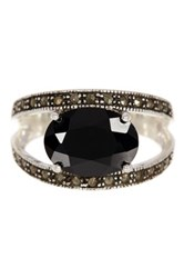 Savvy Cie Black Sapphire And Marcasite Oval Cutout Ring