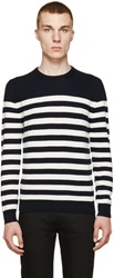 Saint Laurent Navy Striped Cashmere Sweater