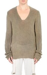 Greg Lauren Open Knit Fisherman Sweater Green