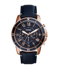 Fossil Grant Sport Stainless Steel And Leather Strap Chronograph Watch Black