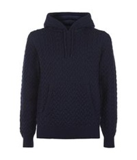 Dolce And Gabbana Cable Knit Wool Hoodie Blue