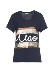 Lanvin Ciao Embellished Jersey T Shirt