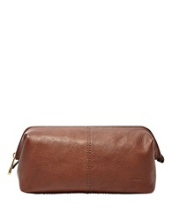 Fossil Leather Dopp Kit Cognac