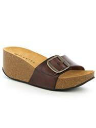Daniel Roswell Open Toe Mid Wedge Mules Brown