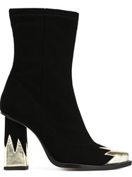 Msgm Flame Applique Boots Black