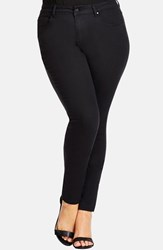 Plus Size Women's City Chic 'Power' Stretch Tapered Leg Jeans Black