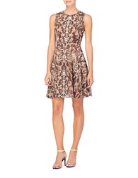 Catherine Malandrino Julia Pleated Chiffon Fit And Flare Dress Brown