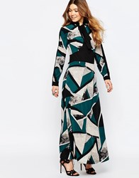 Liquorish Maxi Dress With Pussybow In Geo Print Teal Black