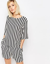 Selected Aliva Striped Short Sleeved Top Navy Blazer Stripe