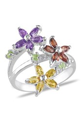 Sterling Silver Garnet Amethyst Citrine And Peridot Floral Ring No Color