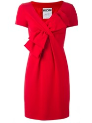 Moschino Short Sleeved Bow Dress Red