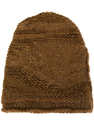 Isabel Benenato Knit Beanie Brown