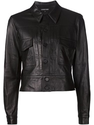 Alexandre Plokhov Cropped Leather Jacket Black