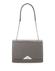 Karl Lagerfeld Gigi Pebbled Leather Shoulder Bag Steel