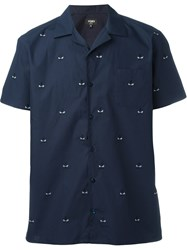Fendi Bag Bugs Embroidered Shirt Blue
