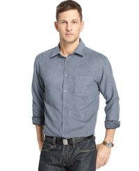 Van Heusen Faux Suede Long Sleeve Shirt Blue