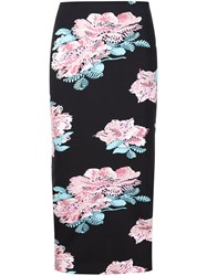 Elizabeth And James Floral Midi Skirt Black