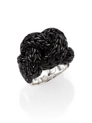John Hardy Classic Chain Blackened Sterling Silver Large Braided Ring Silver Black