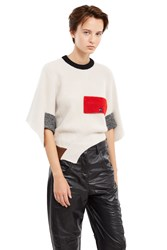 Toga Archives Rib Knit Asymmetrical Sweater Off White