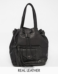 Pieces Leather Shoulder Duffle Bag With Drawstring Black