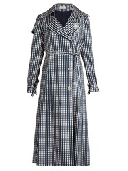 Preen Jette Gingham Print Twill Trench Coat Navy Print