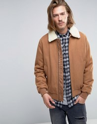 Asos Wool Mix Bomber Jacket With Borg Collar In Camel Camel Beige