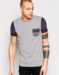 Asos Muscle T Shirt With Geo Tribal Pocket And Sleeves In Gray Paloma Gray