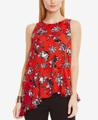 Vince Camuto Printed Asymmetrical Hem Blouse Fiery Red