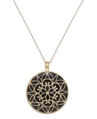 Macy's Onyx Decorative Medallion Pendant Necklace 35Mm In 14K Gold Black