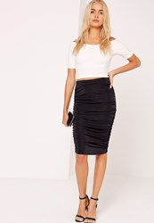 Missguided Textured Slinky Ruched Side Midi Skirt Black