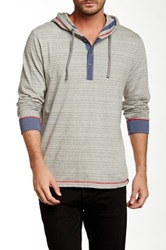 Burnside Striped Drawstring Hooded Sweater Gray