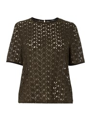 Therapy Lace Shell Top Khaki