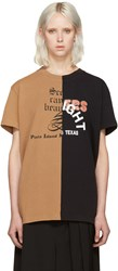 Off White Black And Tan Reassembled T Shirt