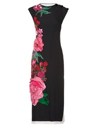 Dolce And Gabbana Flower Applique Print Midi Dress Black Multi