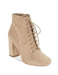 424 Fifth Gianetta Suede Lace Up Ankle Boots Taupe