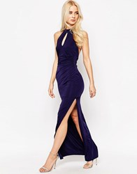 Sistaglam Zena Slinky Halter Maxi Dress With Keyhole Navy