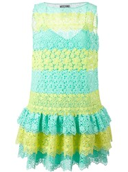 Moschino Striped Macrame Lace Dress Green