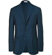 Boglioli Blue Slim Fit Wool And Mohair Blend Blazer Blue