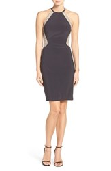 Xscape Evenings Women's Beaded Mesh And Jersey Sheath Dress Charcoal Nude Silver