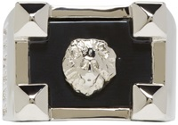 Versus Silver And Black Lion Ring