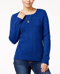 Hippie Rose Juniors' Cable Front Sweater Mountain Blue