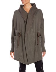 Free People Knit Drawstring Cardigan Green