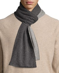 Portolano Two Tone Knit Scarf Heather Charcoal Light Heather Gray