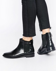 Faith Subaru Black Leather Flat Chelsea Boots