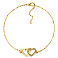 Melissa Odabash Gold Plated Swarovski Crystal Double Heart Bracelet Gold