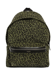 Saint Laurent Leo Printed Cotton Canvas Backpack Military Green